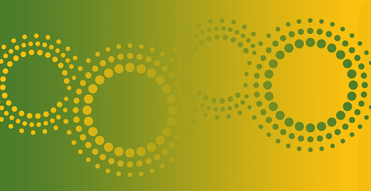 CIPD graphic banner - Lime-yellow gradient with lime-yellow beaded cogs